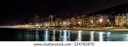Copacabana Beach panorama by night, in Rio de Janeiro, Brazil - stock photo