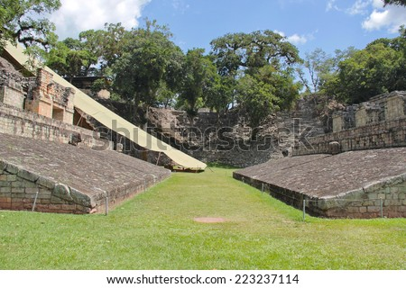 Copan, Honduras: ceremonial ball game court in Copan, one of the most important Mayan archaeological sites. UNESCO World Heritage Site.