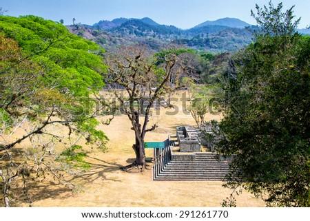 Copan ruins in the archeological site, Copan Ruinas, Honduras, Central America - stock photo