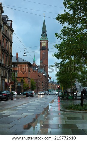 COPENHAGEN - AUGUST 30: Streets of Copenhagen after a rain. The sun is the rare visitor in northern latitudes on August 30, 2014 in Copenhagen, Denmark