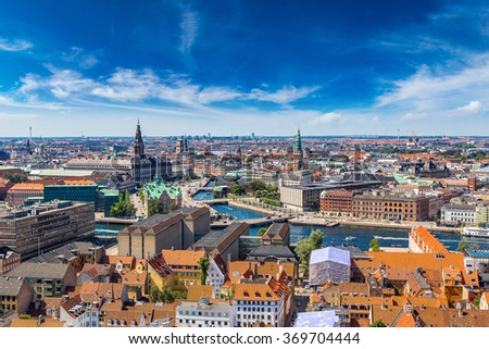 Copenhagen City, Denmark, Scandinavia. Beautiful summer day - stock photo