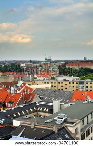 copenhagen city view. cityscape of city center of capital of denmark - stock photo