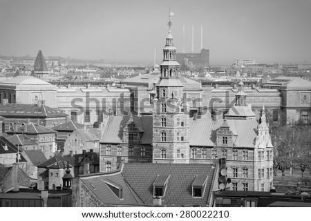 Copenhagen, Denmark - aerial view of the Old Town. Black and white tone - retro monochrome style. - stock photo