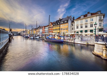 Copenhagen, Denmark at Nyhavn canal at dusk. - stock photo