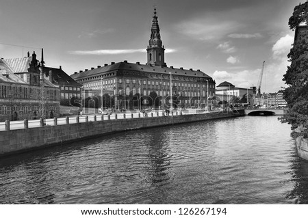 Copenhagen, Denmark. Christiansborg - the royal palace in black and white - stock photo