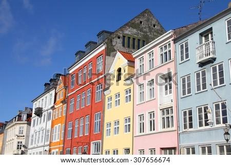 Copenhagen, Denmark - colorful buildings of Nyhavn street. Oresund region. - stock photo