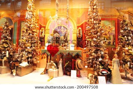COPENHAGEN, DENMARK - DECEMBER 19, 2011: Luxurious window shop at Christmas in central Copenhagen - stock photo