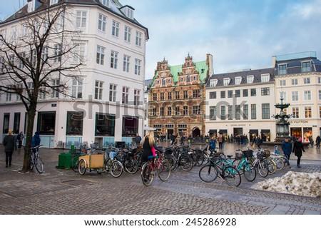 COPENHAGEN, DENMARK - DECEMBER 30, 2014:Parking for bicycles. Copenhagen is one of the cities in the world of cycling. December 30, 2014 Copenhagen, Denmark. - stock photo