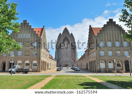 Copenhagen, Denmark. Famous Lutheran  Grundtvig's Church in the style of expressionism - stock photo