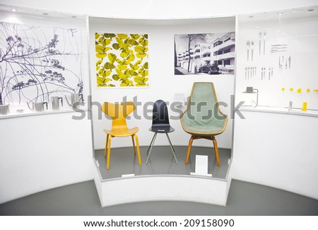 COPENHAGEN, DENMARK - JULY 2: A pernament exhibition of The Designmuseum Danmark on July 2, 2014 in Copenhagen. The museum is located in the old Frederiks Hospital. - stock photo