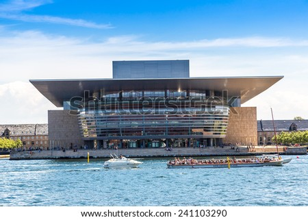 COPENHAGEN, DENMARK - JULY 25: Opera House one of the the most modern opera houses in the world. View from the pier in Copenhagenon July 25, 2014