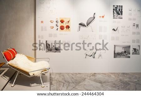 COPENHAGEN, DENMARK - JULY 2: The Designmuseum Danmark pernament exhibition on July 2, 2014 in Copenhagen. The museum is located in the old Frederik's Hospital. - stock photo