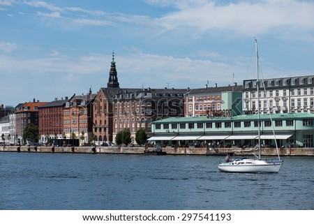 COPENHAGEN, DENMARK - JULY 16: View on the Copenhagen during the cruise