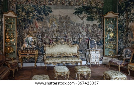COPENHAGEN, DENMARK - 2014 Jun 08: Interior (Christian VIs Room of Rosenborg Castle). This room was the bedchamber. The walls are decorated tapestries with scenes from life of Alexander the Great.