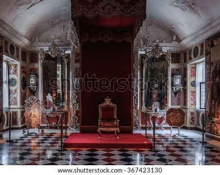COPENHAGEN DENMARK - 2014 Jun 08 Interior (The Knights Hall of Rosenborg Castle & COPENHAGEN DENMARK 2014 Jun 08 Interior Stock Photo (Royalty Free ...