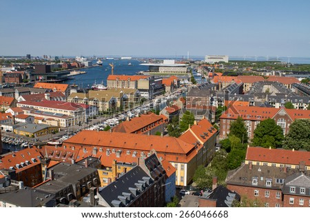 Copenhagen, Denmark - June 10: Aerial view of the city from the Von Frelsers Church in Copenhagen, Denmark on June 10, 2014.