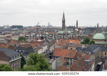 COPENHAGEN, DENMARK - JUNE 8: Copenhagen skyline view from the observation deck at The Round Tower ( in Copenhagen, Denmark, June 8, 2016. - stock photo