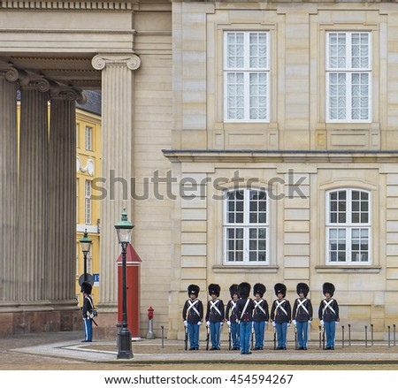 COPENHAGEN, DENMARK - 26 JUNE, 2016: Royal Guard in Amalienborg Castle in Copenhagen in Denmark on 26 June, 2016.