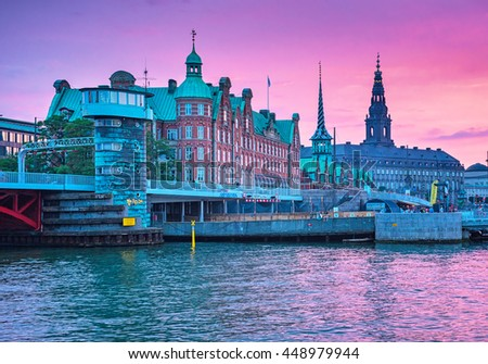 COPENHAGEN, DENMARK - 24 JUNE, 2016: Sunset over the old town of Copenhagen, Denmark on 24 June, 2016.
