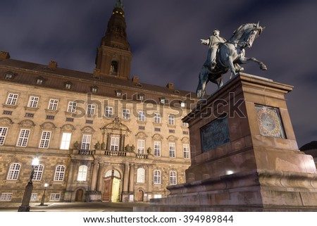 Copenhagen, Denmark - March 22, 2016: The seat of the Danish parliament Christiansborg Palace by night. - stock photo