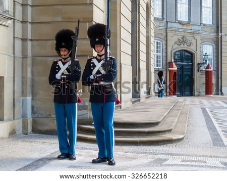 COPENHAGEN, DENMARK - MAY 2, 2015: Changing of the Royal Guard in Amalienborg Palace - Residence of the Danish royal family