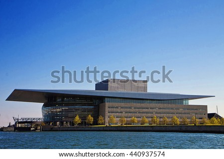 COPENHAGEN, DENMARK - MAY 8, 2016. The modern building of the national Opera House of Denmark  located on the island of Holmen ( Dock Island) in central Copenhagen. Built in 2004, opened in 2005