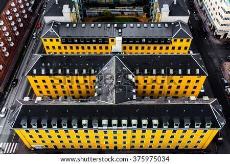 COPENHAGEN, DENMARK - NOVEMBER 7, 2015: Aerial view of Copenhagen City, Denmark, Scandinavia. View from Tower of Church of Our Saviour on November 5, 2015, Copenhagen, Denmark - stock photo