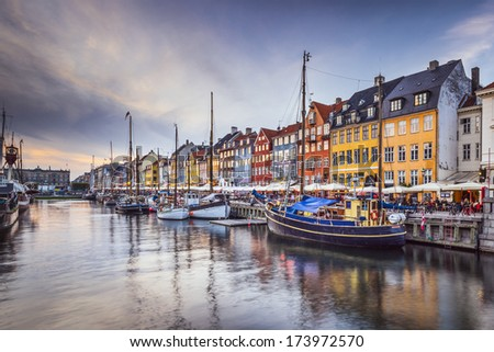 Copenhagen, Denmark on the Nyhavn Canal. - stock photo