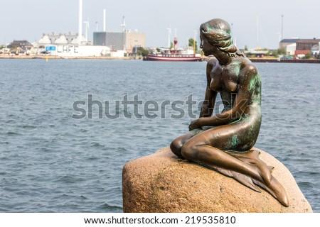 COPENHAGEN, DENMARK - SEPTEMBER,07: A famous statue of the little Mermaid in Copenhagen, Denmark on September 07, 2014  - stock photo