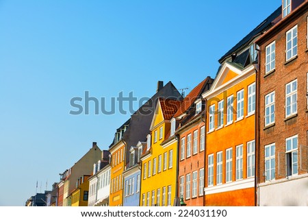 Copenhagen Nyhavn colorful houses - stock photo