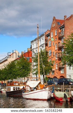 Copenhagen (Nyhavn district) in a sunny summer day - stock photo