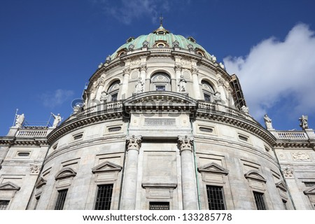 Copenhagen Old Town - capital city of Denmark. Marble Church in Frederiksstaden district. Oresund region.