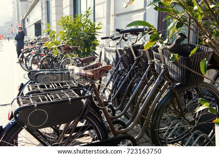 Colorful street doors windows red and yellow walls and bikes & Copenhagen Street Colorful Street Doors Windows Stock Photo ...
