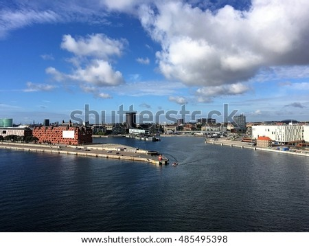 Copenhagen, the capital of Denmark. The picture is taken in Nordhavn, in the north-eastern part of the city. The ferry terminal is located here.