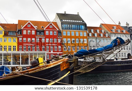 Copenhagen - yacht and color houses in seafront Nyhavn, Denmark. - stock photo