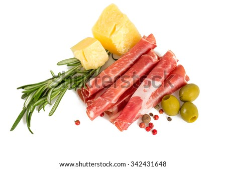 Coppa di Parma ham, parmesan cheese and olives - stock photo