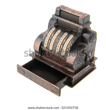 Copper antique cash register isolated over white background - stock photo