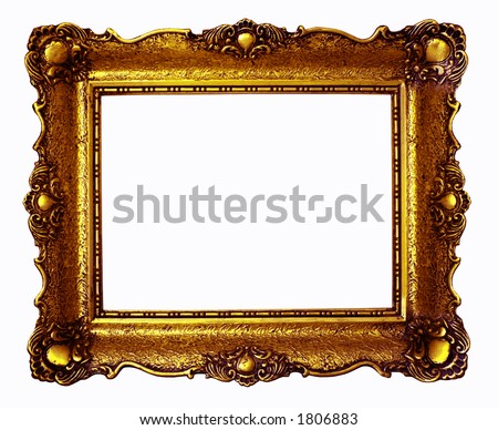 Copper antique painting frame isolated on white background - stock photo