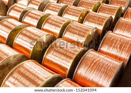 copper cable factory - stock photo