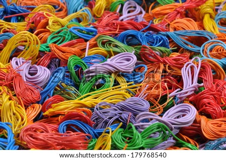 Copper cable scrap recycling industrial background  - stock photo