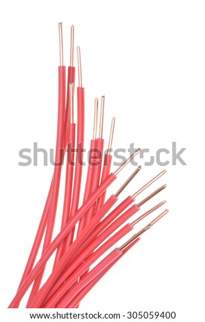 Copper cable used in electrical installations - stock photo
