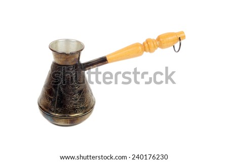 copper cezve with the wooden handle