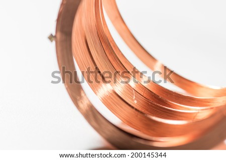 copper coil  with chip modul upper cut - stock photo