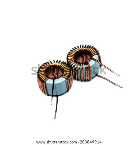 Copper coils isolated on white background - stock photo