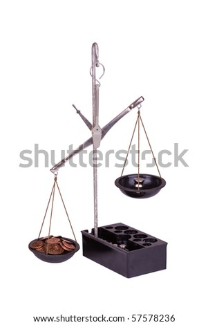 copper coins and balance. isolated on white background - stock photo