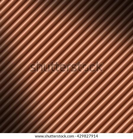 Copper colored diagonal tube background texture lit diagonally - stock photo