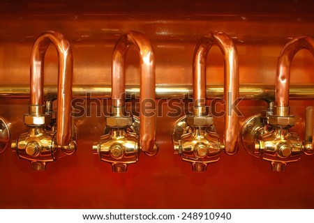 copper detail brewery - stock photo
