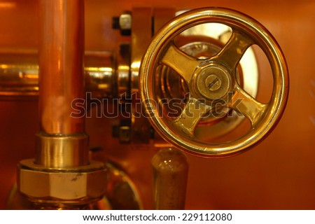 copper detail of brewery technology control - stock photo