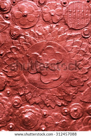 Copper flower embossing background, carving and engraving floral surface pattern, golden sand plate, painted abstract artwork.