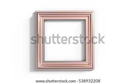 Copper Frame 3D Illustration on a white background